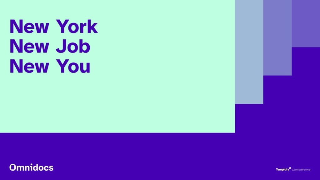 A picture of the omnidocs brand spelling: New York New Job New You